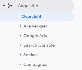Google Analytics - Acquisitie - overzicht